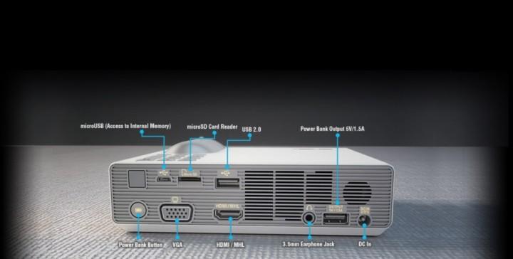 p3b back 720x364 ASUS เปิดตัวโปรเจคเตอร์ รุ่นใหม่ P3B ที่ให้ความสว่างมากถึง 800 Lumens พร้อมแบตเตอรี่ในตัว!