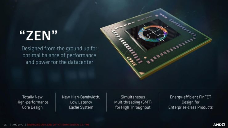 "amd epyc processors slide 9 740x416 สุดยอดซีพียู AMD EPYC 7000 Series สำหรับ Server ในรหัส Zen ""Zeppelin"" Based MCM ที่มีจำนวนคอร์สูงถึง 32 Cores, 64 Threads, 128 PCIe Lanes พร้อมเปิดตัวแล้ว"