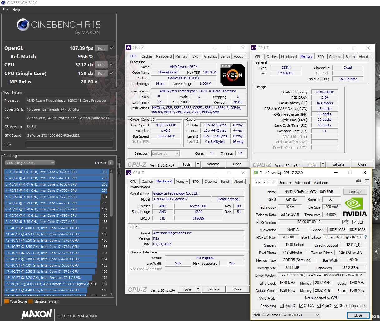 c15 36 G.SKILL Trident Z RGB DDR4 3200MHz 32GB (8GBx4) Quad Channel Review