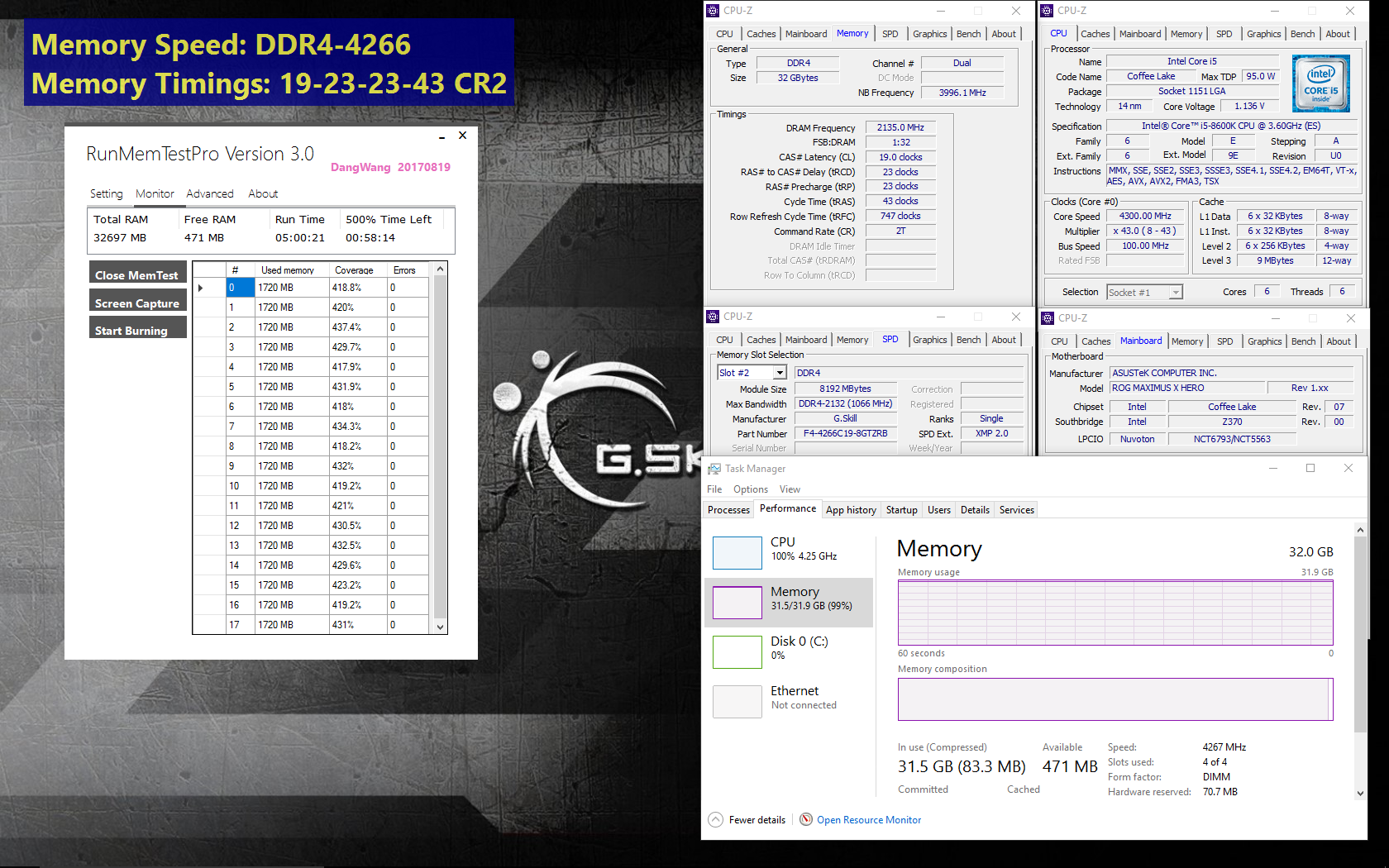 trident z rgb 4266 32gb 5hrs G.SKILL เปิดตัวแรมตัวแรงในรุ่น Trident Z RGB Memory Kit at DDR4 4266MHz ความจุ 32GB (4x8GB) รองรับการทำงานของซีพียู Intel 8th Gen Coffee Lake รุ่นใหม่ล่าสุด