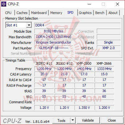 cpu5 Kingmax Zeus Dragon DDR4 Gaming DDR4 2800 MHz 8GB x 2 Review