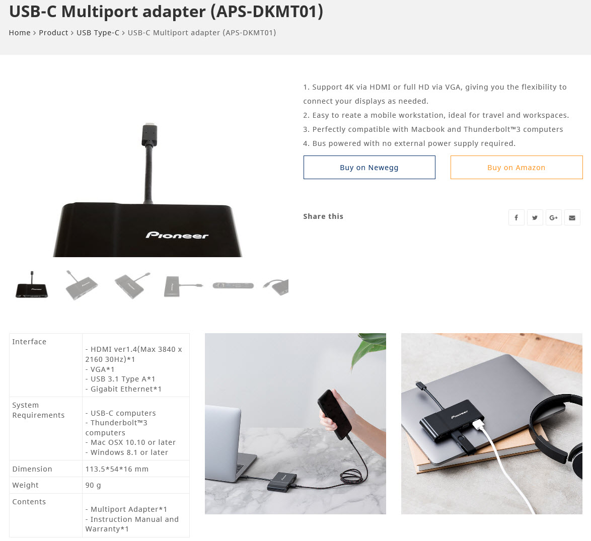 2018 03 27 22 19 08 Pioneer USB C Multiport adapter APS DKMT01 Review