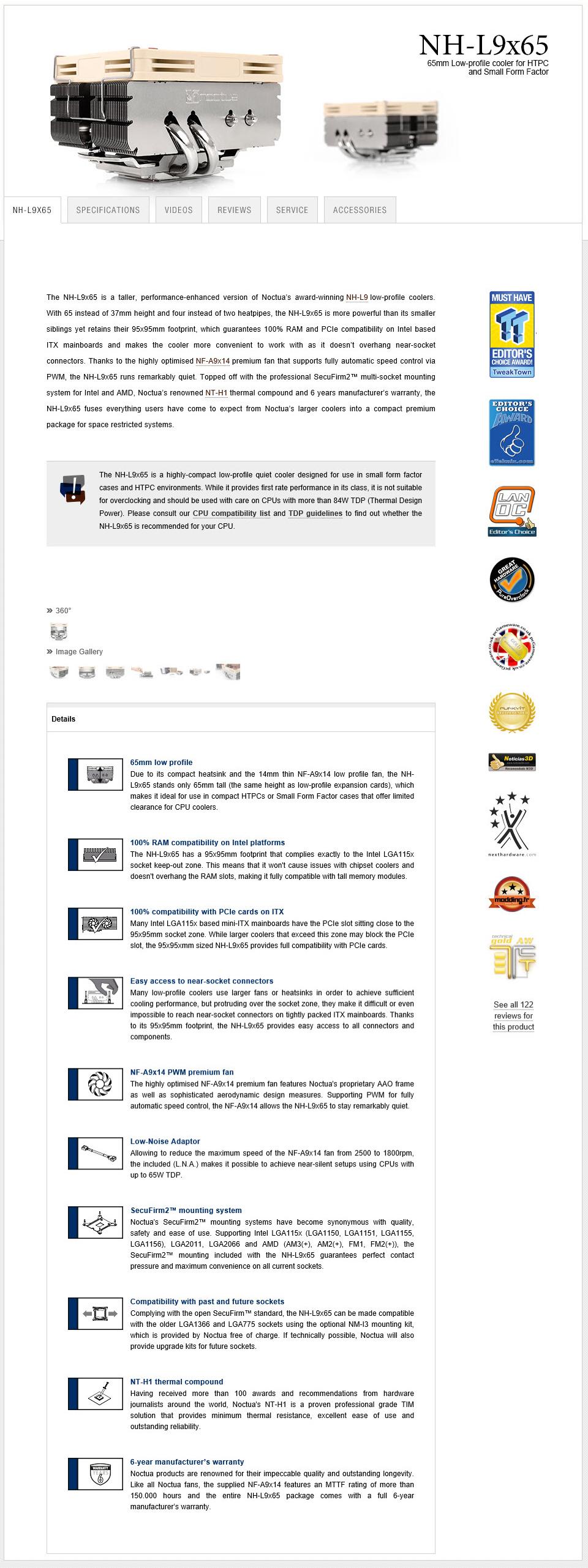 spec Noctua NH L9x65 Low Profile CPU Review