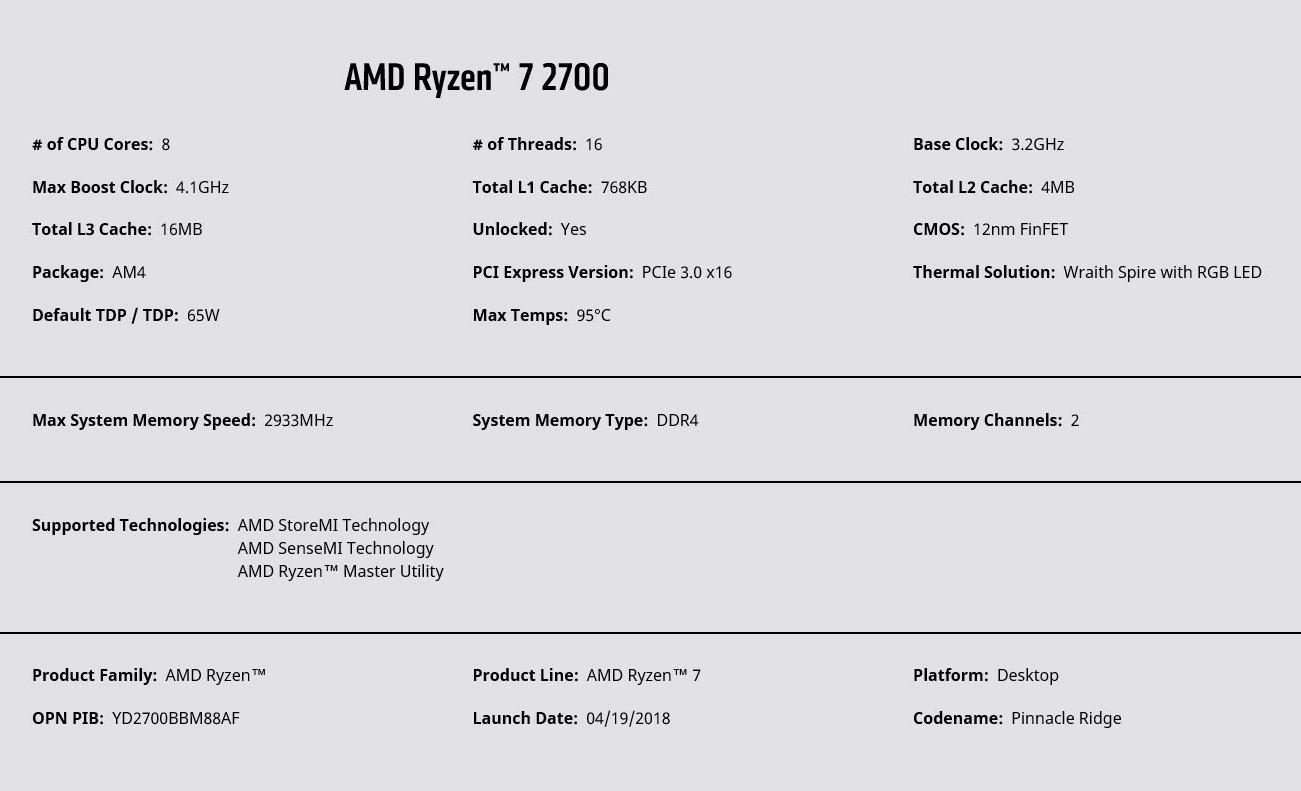 spec ryzen 7 2700 AMD RYZEN 7 2700 and StoreMI Technology Review