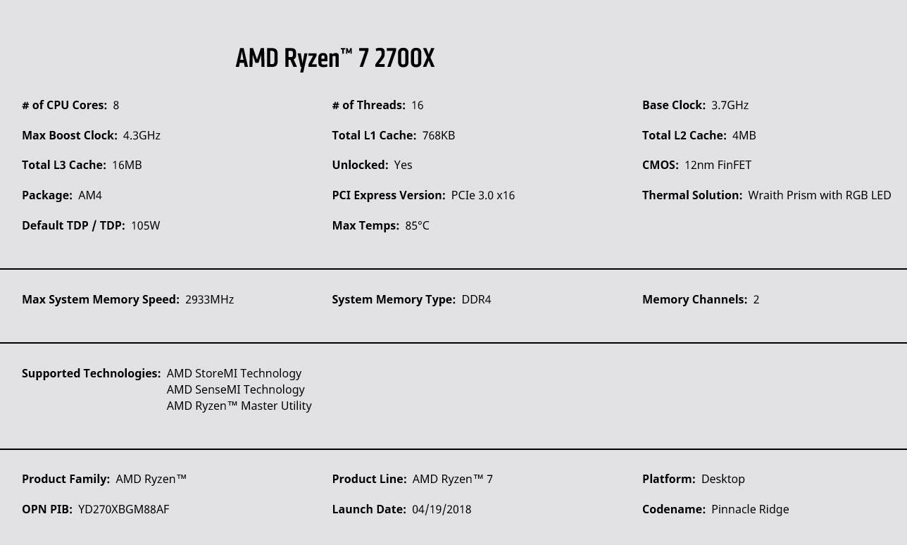 spec ryzen 7 2700x AMD RYZEN 7 2700X PROCESSOR REVIEW