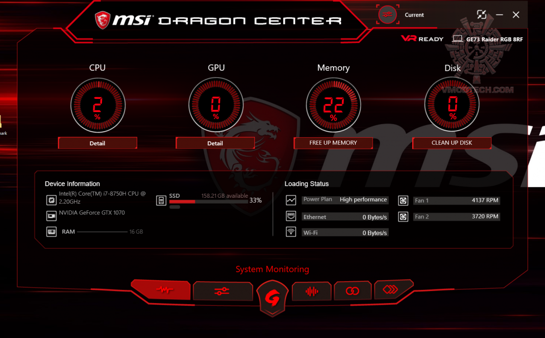 dragon center 1 MSI GE73 Raider RGB 8RF with 8th Generation of Intel CPU Review