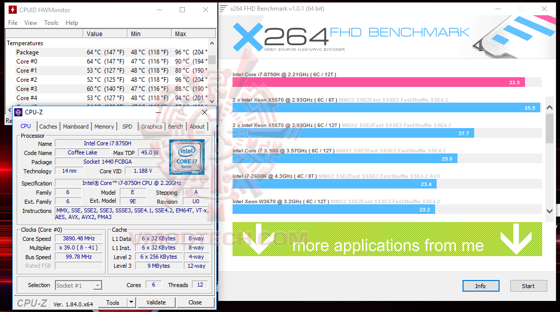 x264 MSI GE73 Raider RGB 8RF with 8th Generation of Intel CPU Review