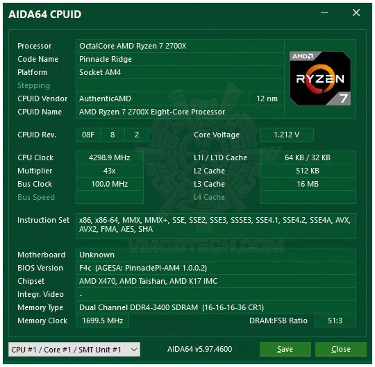 aida G.SKILL SNIPER X DDR4 3400Mhz 16GB F4 3400C16D 16GSXW REVIEW
