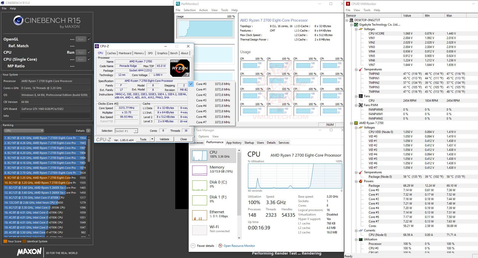 core temp AMD RYZEN 7 2700 and StoreMI Technology Review
