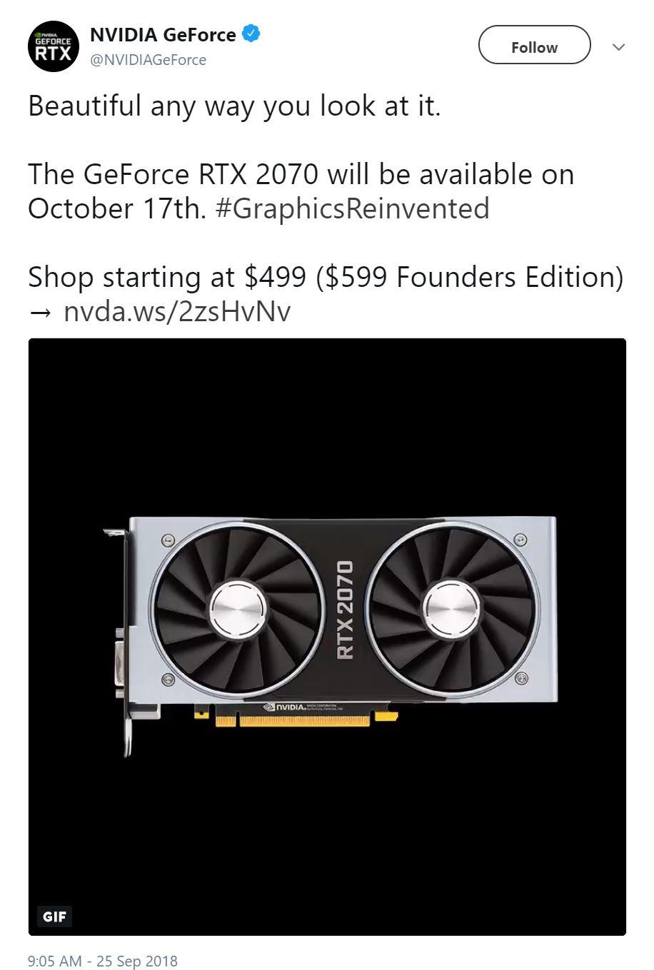 nvidia geforce rtx 2070 launch date Nvidia เตรียมเปิดตัว GeForce RTX 2070 ในวันที่ 17ตุลาคมที่จะถึงนี้ราคาอยู่ที่ 499 599ดอลล่าสหรัฐฯ