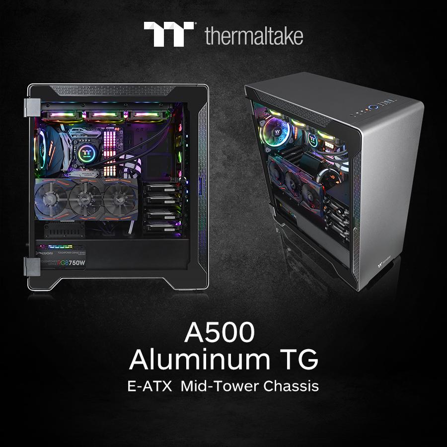 thermaltake a500 aluminum tempered glass edition mid tower chassis 2 Thermaltake แนะนำเคสอะลูมิเนียม A500 TG Aluminum Tempered Glass Edition Mid Tower Chassis รุ่นใหม่ล่าสุดที่เน้นความสวยงามหรูหรา