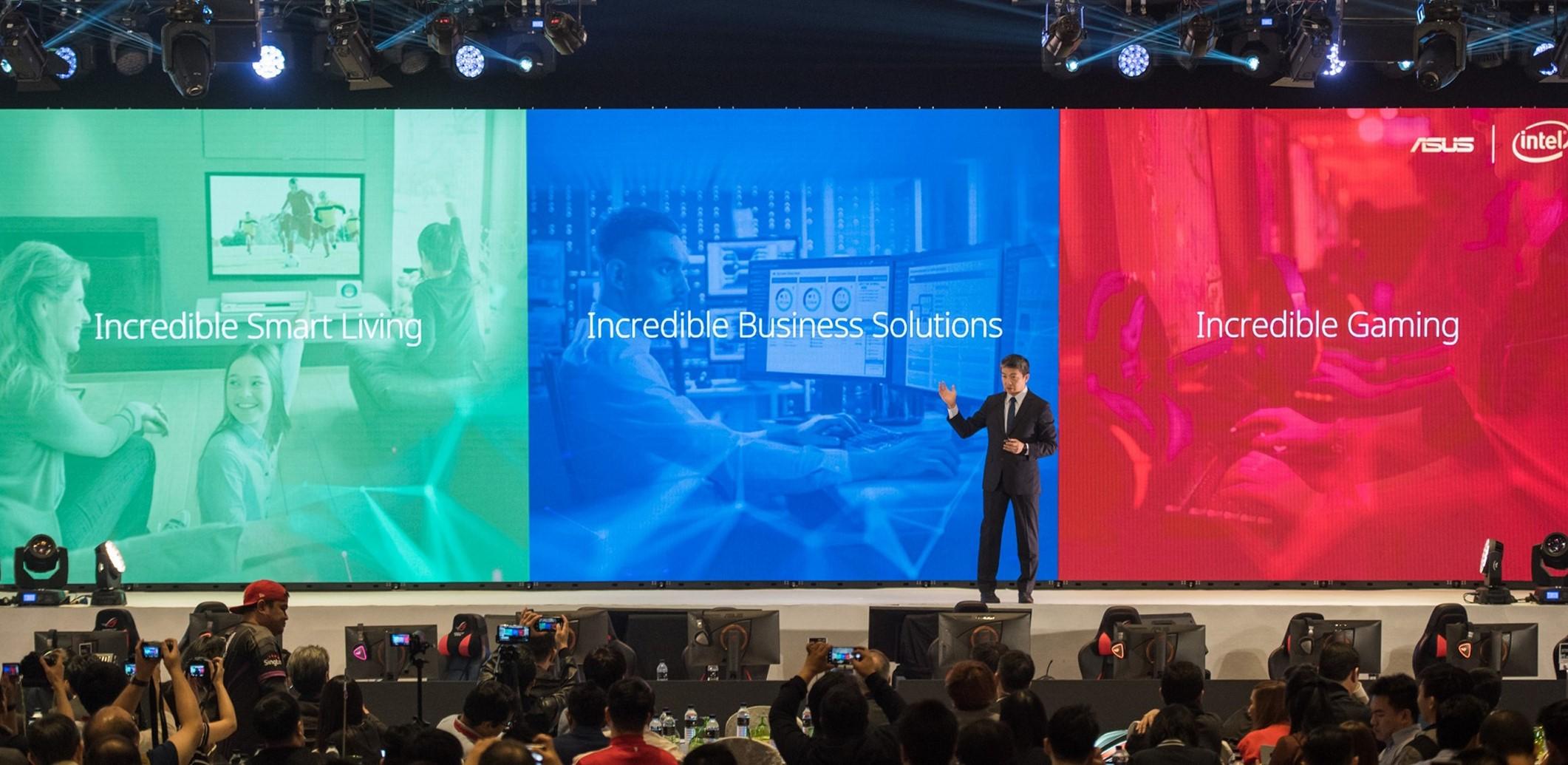 asus corporate vice president jackie hsu kicks off incredible intelligence 2018 press event in malaysia ASUS โชว์นวัตกรรมสินค้าสำหรับการใช้งานในองค์กรธุรกิจ บ้านและการเล่นเกม ที่งาน Incredible Intelligence 2018 ประเทศมาเลเซีย