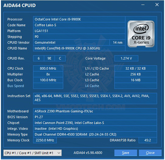 aida64 ASRock Z390 Phantom Gaming ITX/ac Review