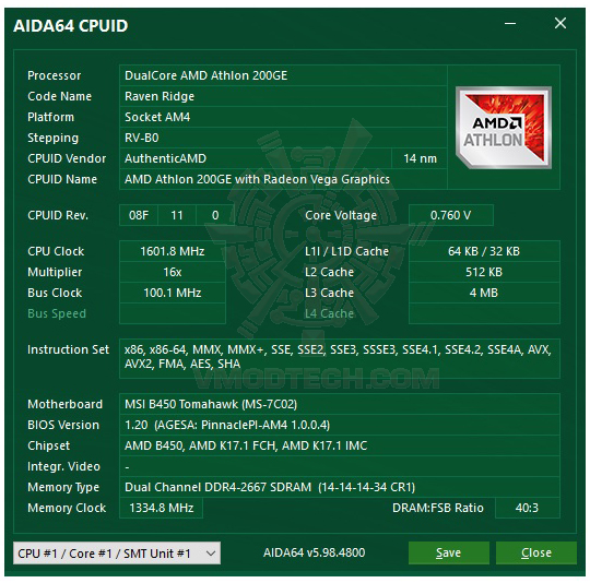 aida64 AMD Athlon 200GE Processor with Radeon Vega 3 Graphics Review
