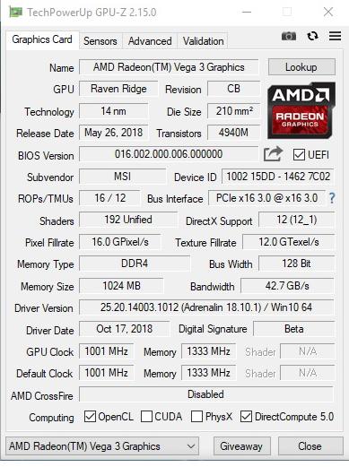 gpuz AMD Athlon 200GE Processor with Radeon Vega 3 Graphics Review