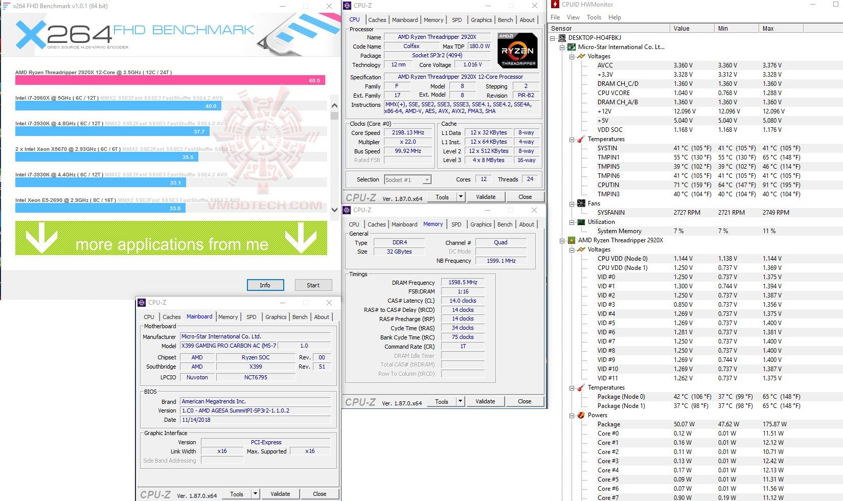 x264 AMD RYZEN THREADRIPPER 2920X PROCESSOR REVIEW