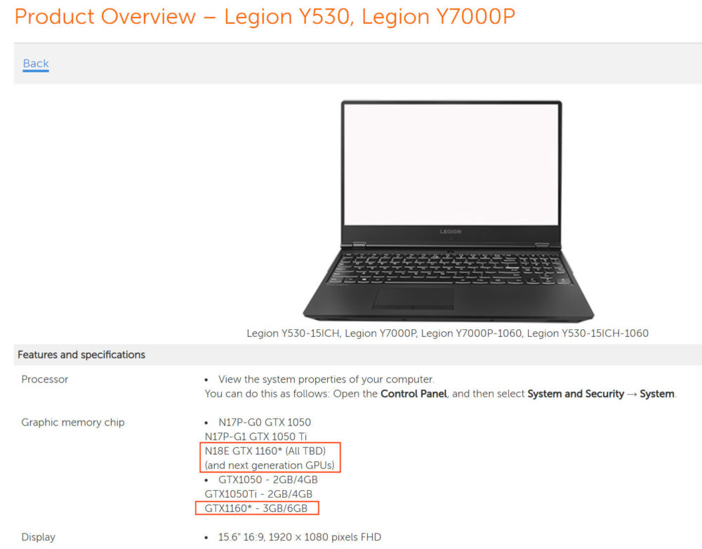 lenovo geforce gtx 1160 1000x782 Nvidia GeForce GTX 1160 เตรียมลงแล๊ปท๊อปค่อนข้างแน่นอนแล้ว