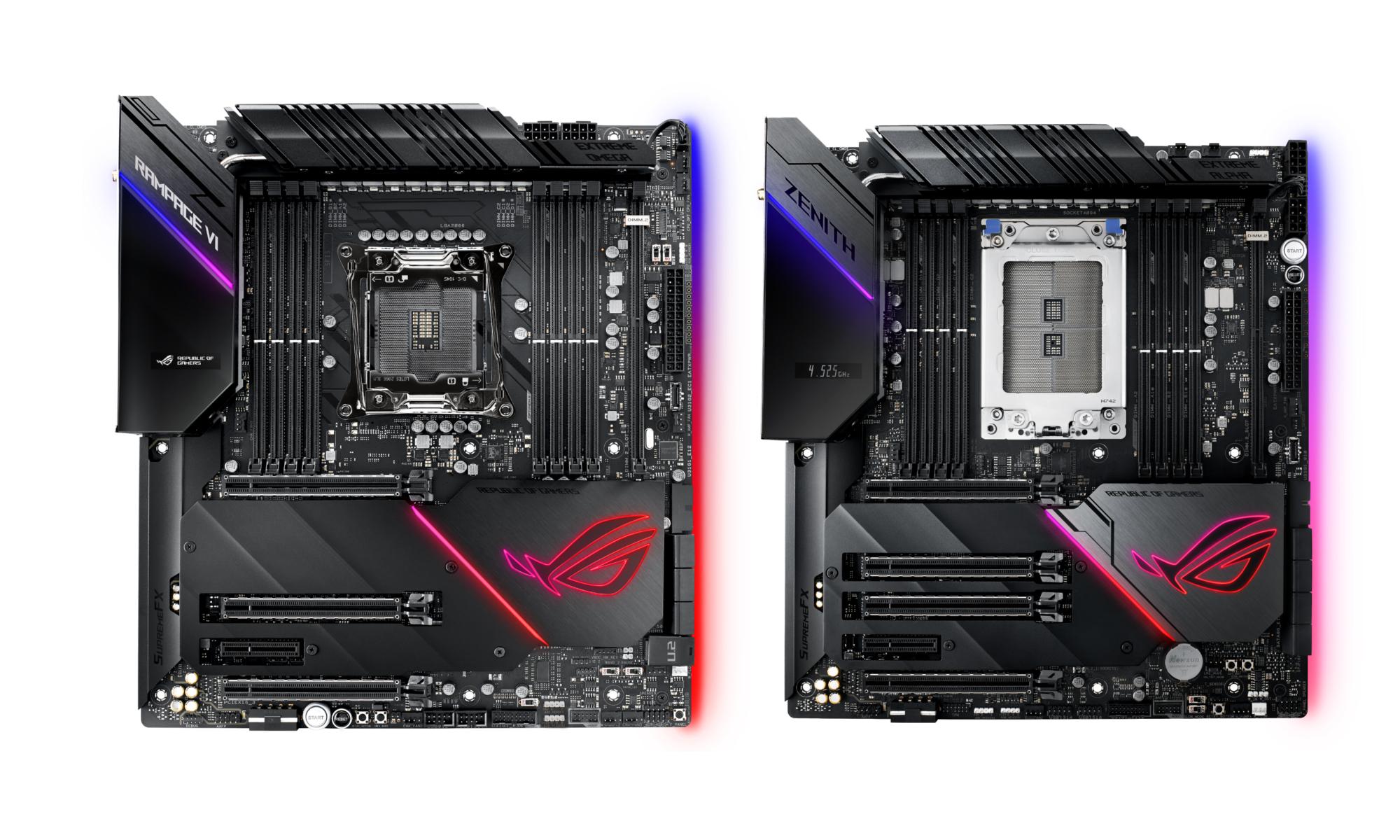 asus rog zenith extreme alpha x399 e0b981e0b8a5e0b8b0 rog rampage vi extreme omega x299 เอซุสเปิดตัวเมนบอร์ด ASUS ROG Zenith Extreme Alpha X399 และ ROG Rampage VI Extreme Omega X299 รุ่นใหม่ล่าสุดที่มาในแพลตฟอร์ด AMD Ryzen Threadripper และ Intel Core X สำหรับคอ HEDT สุดโหดโดยเฉพาะ!!!