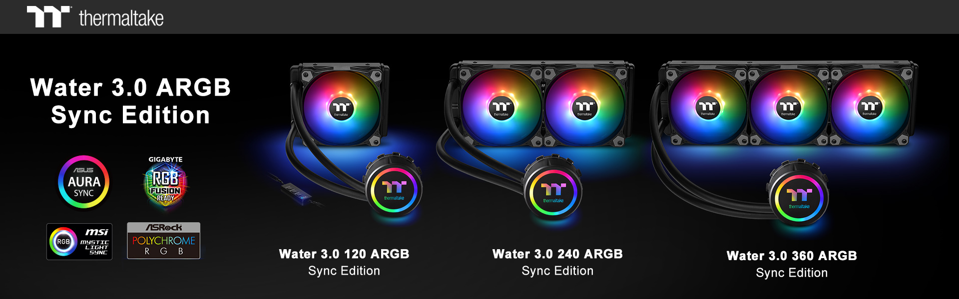 thermaltake new all in one liquid cooling solution the water 3 0 argb sync edition series at ces 2019 1 Thermaltake เปิดตัวชุดน้ำสำเร็จ All In One Liquid Cooling รุ่นใหม่ล่าสุด Thermaltake Water 3.0 ARGB Sync Edition Series ในงาน CES2019