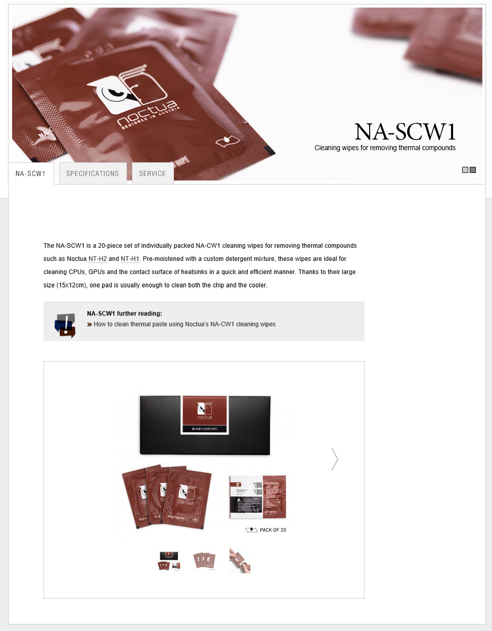 spec NOCTUA NA SCW1 CLEANING WIPES REVIEW