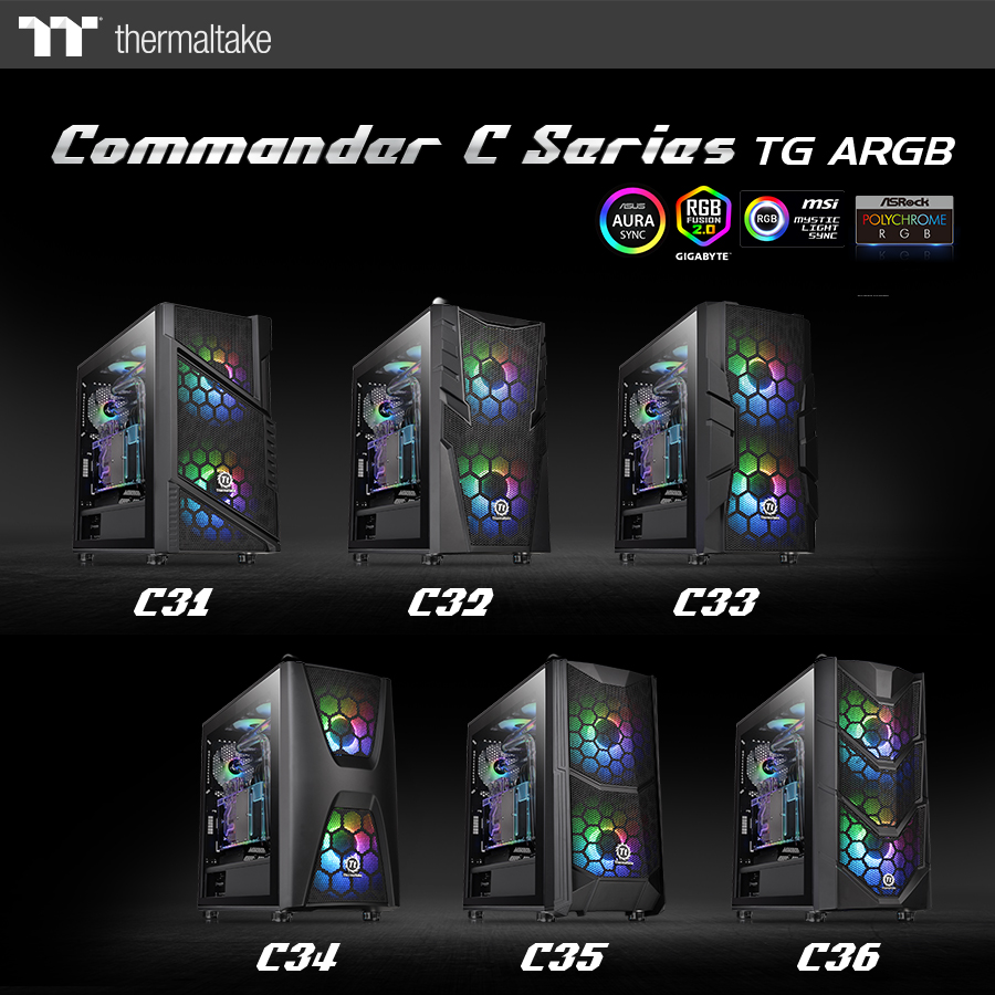 thermaltake new commander c series  1 Thermaltake เปิดตัวเคสรุ่นใหม่ล่าสุด Commander C Series TG ARGB มากถึง 6รุ่น พร้อมกระจกนิรภัย Tempered Glass และพัดลม Dual 200mm ARGB Fans แบบจัดเต็ม