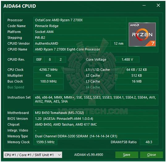 aida64 MSI B450 TOMAHAWK REVIEW