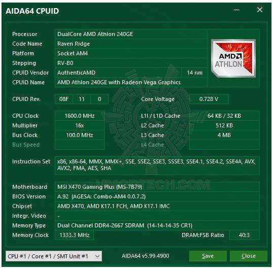 aida64 AMD Athlon 240GE Processor with Radeon Vega 3 Graphics Review