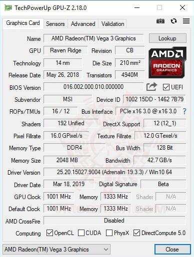 gpuz AMD Athlon 240GE Processor with Radeon Vega 3 Graphics Review