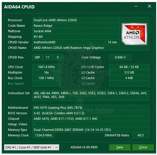 aida64 AMD Athlon 220GE Processor with Radeon Vega 3 Graphics Review