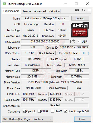 gpuz AMD Athlon 220GE Processor with Radeon Vega 3 Graphics Review