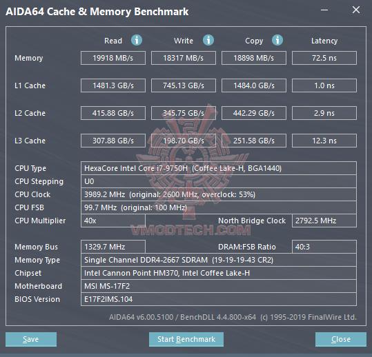 aida cache MSI GF75 Thin 9SC Review