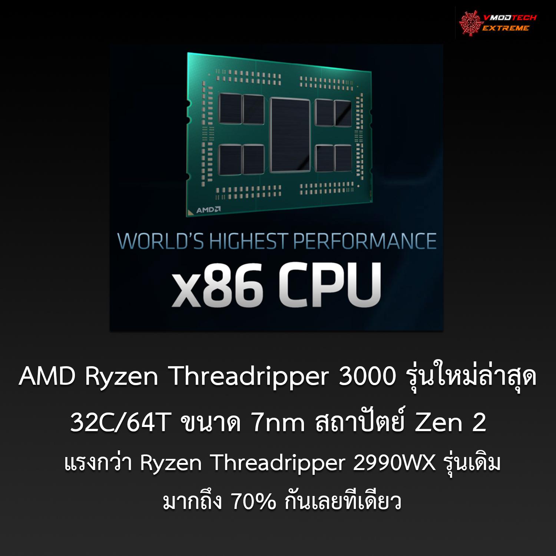 amd ryzen threadripper 3000 AMD Ryzen Threadripper 3000 รุ่นใหม่ล่าสุด 32คอร์ 7nm สถาปัตย์ Zen 2 แรงกว่า Ryzen Threadripper 2990WX รุ่นเดิมมากถึง 70% กันเลยทีเดียว