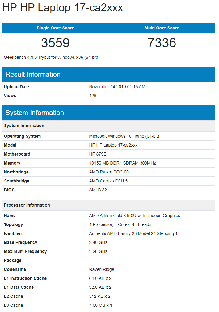 capture หลุดผลทดสอบ AMD Athlon Gold 3150U อย่างไม่เป็นทางการ