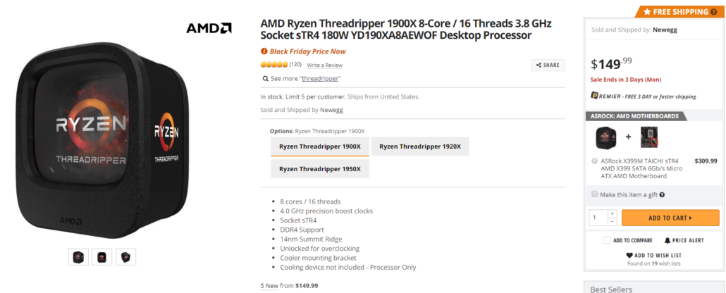 amd ryzen threadripper 1900x 8 core 64 pcie lane cpu 1030x4167 ซีพียู AMD Ryzen Threadripper รุ่นที่ 1 2 กำลังลดราคาเพราะการมาของซีพียู AMD Ryzen Threadripper 3000