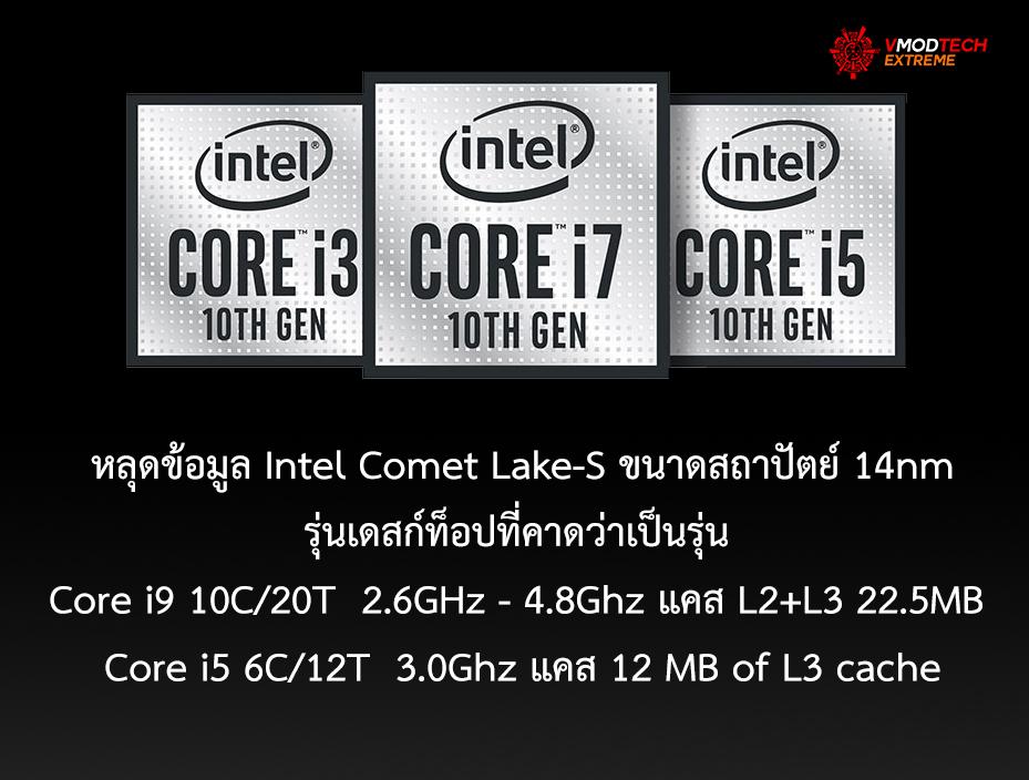 หลุดผลทดสอบ Intel Comet Lake-S ขนาดสถาปัตย์ 14nm รุ่นเดสก์ท็อปที่คาดว่าเป็นรุ่น Core i9 10C/20T และ Core i5 6C/12T อย่างไม่เป็นทางการ