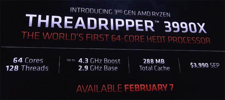 untitled 13 AMD เปิดตัวซีพียู AMD Ryzen Threadripper 3990X 64C/128T ความเร็ว 4.3 GHz Turbo วางจำหน่ายในราคา 3990 USD หรือประมาณ 119,700บาทไทย