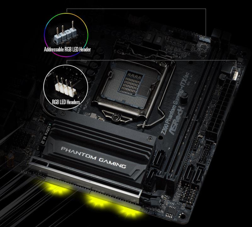 asrock z390 phantom gaming itx rgb ASRock Z390 Phantom Gaming ITX/ac เมนบอร์ดสไตล์มินิ เพาเวอร์อัพสำหรับเกมมิ่งและ OC