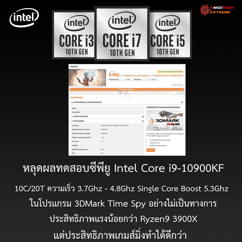 หลุดผลทดสอบซีพียู Intel Core i9-10900KF ในโปรแกรม 3DMark Time Spy อย่างไม่เป็นทางการ
