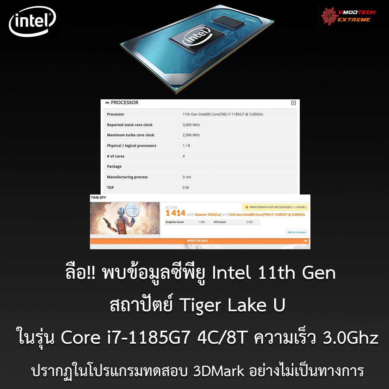 core i7 1185g7 3dmark data ลือ!! พบข้อมูลซีพียู Intel 11th Gen ในรุ่น Core i7 1185G7 ปรากฏในโปรแกรมทดสอบ 3DMark อย่างไม่เป็นทางการ