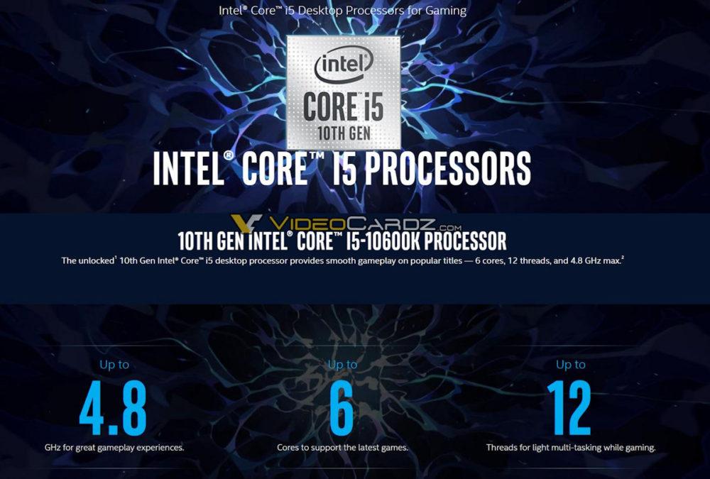 intel core i5 10600k specs 1000x675 ลือ!! Intel Core i9 10900K, Core i7 10700K และ Core i5 10600K คาดเปิดตัวก่อน 3รุ่นในวันที่ 30เมษายนที่จะถึงนี้
