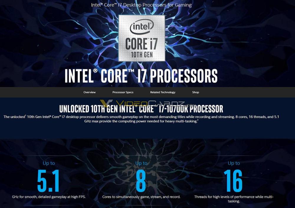 intel core i7 10700k specs 1000x706 ลือ!! Intel Core i9 10900K, Core i7 10700K และ Core i5 10600K คาดเปิดตัวก่อน 3รุ่นในวันที่ 30เมษายนที่จะถึงนี้
