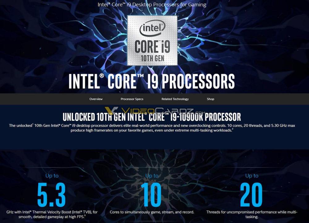 intel core i9 10900k specs 1000x722 ลือ!! Intel Core i9 10900K, Core i7 10700K และ Core i5 10600K คาดเปิดตัวก่อน 3รุ่นในวันที่ 30เมษายนที่จะถึงนี้