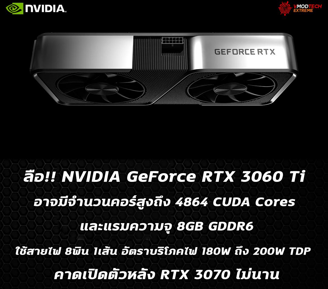 nvidia geforce rtx 3060 ti spec ลือ!! NVIDIA GeForce RTX 3060 Ti อาจมีจำนวนคอร์สูงถึง 4864 CUDA Cores และแรมความจุ 8GB GDDR6 คาดเปิดตัวหลัง RTX 3070 ไม่นาน