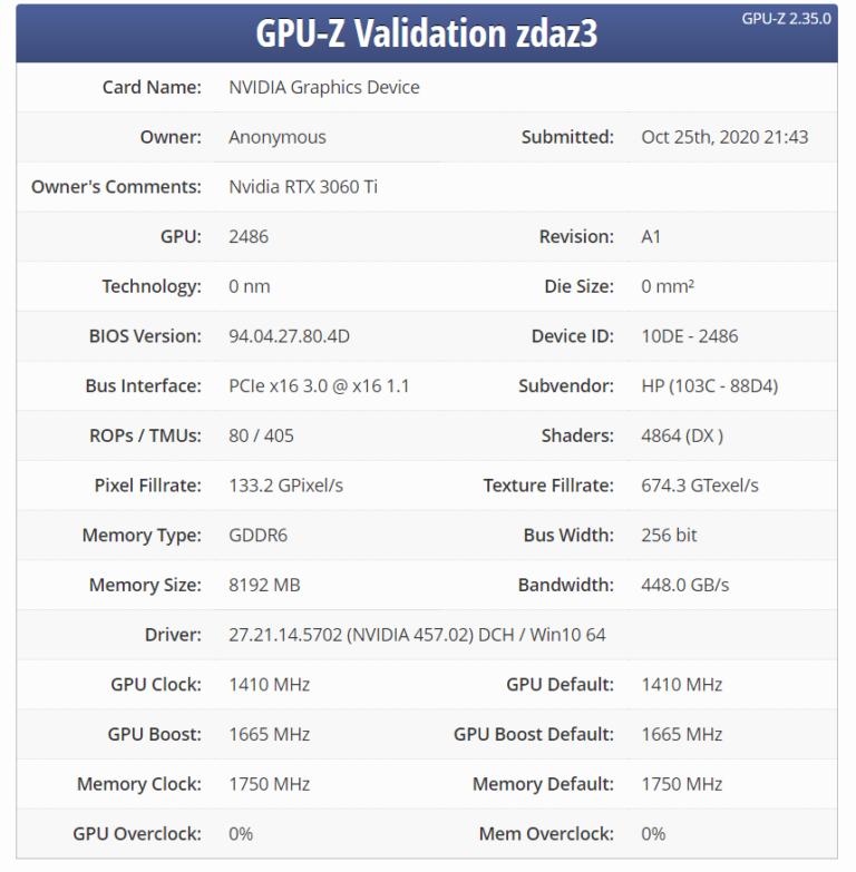 nvidia geforce rtx 3060 ti gpuz leaked 768x783 พบข้อมูลการ์ดจอ NVIDIA GeForce RTX 3060 Ti รุ่นใหม่ล่าสุดใน GPU Z เผยรายละเอียดสเปกการทำงานครบถ้วน
