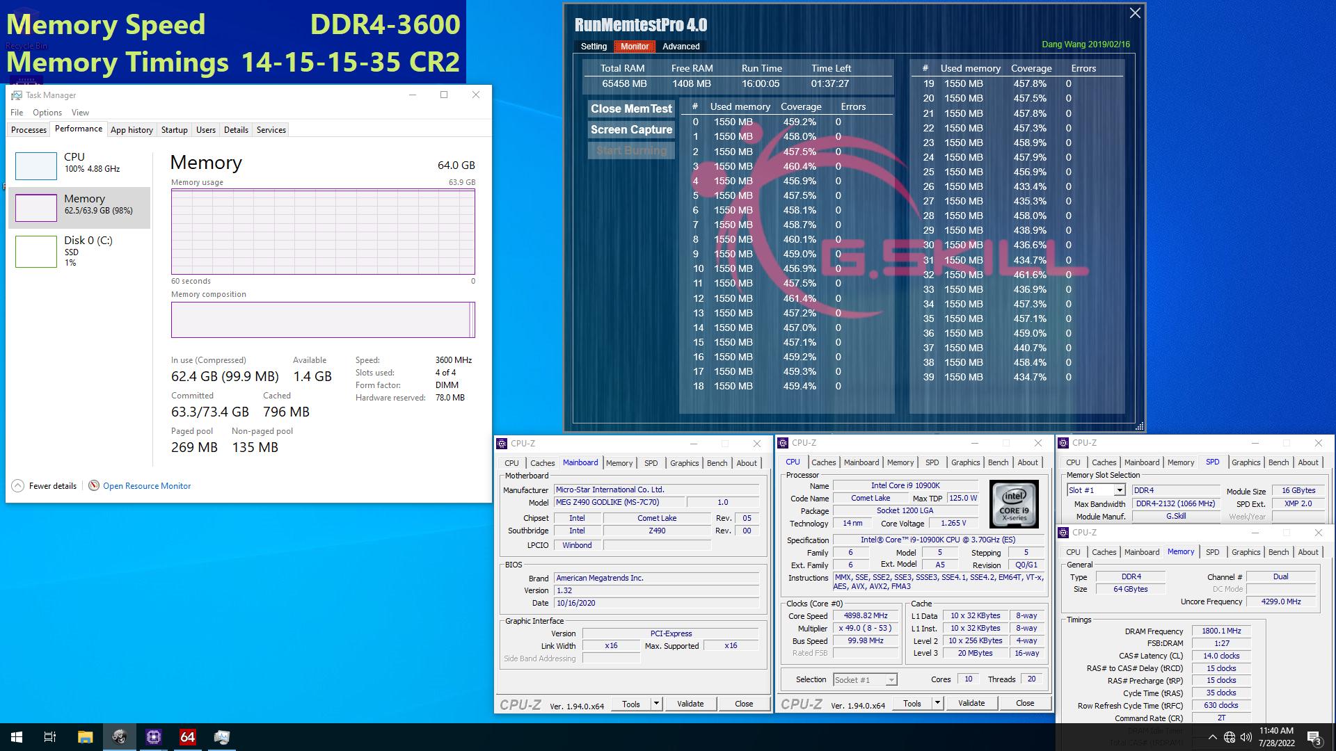 03 3600c16 16gbx4 msi G.SKILL ประกาศเปิดตัวแรมประสิทธิภาพสูงด้วยชิป Samsung B die ที่เน้น Latency ที่ต่ำในรุ่น Trident Z Neo, Trident Z Royal, Trident Z RGB, และ Ripjaws V ในบัสแรม DDR4 3600 CL14 64GB (16GBx4) และ 32GB (16GBx2)