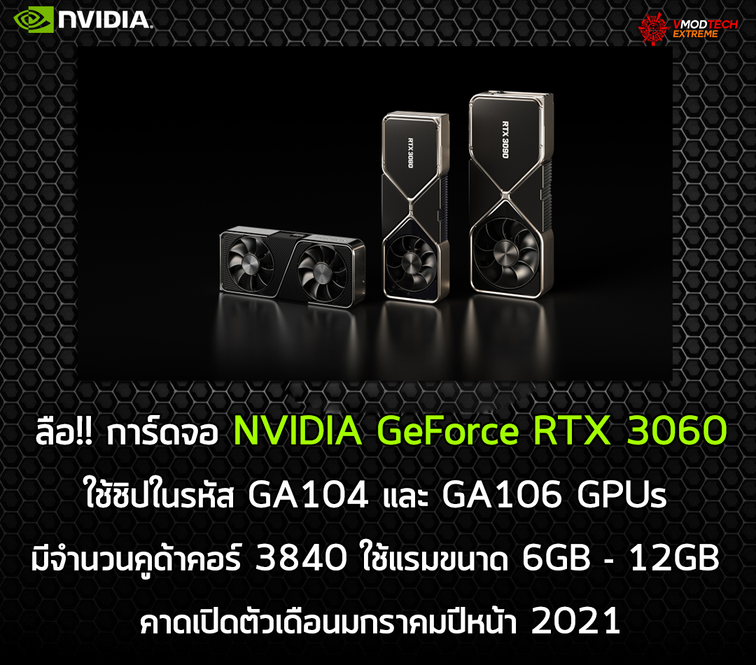 nvidia geforce rtx 3060 jan 2021 ลือ!! การ์ดจอ NVIDIA GeForce RTX 3060 ใช้แรมขนาด 6GB   12GB คาดเปิดตัวเดือนมกราคมปีหน้า 2021