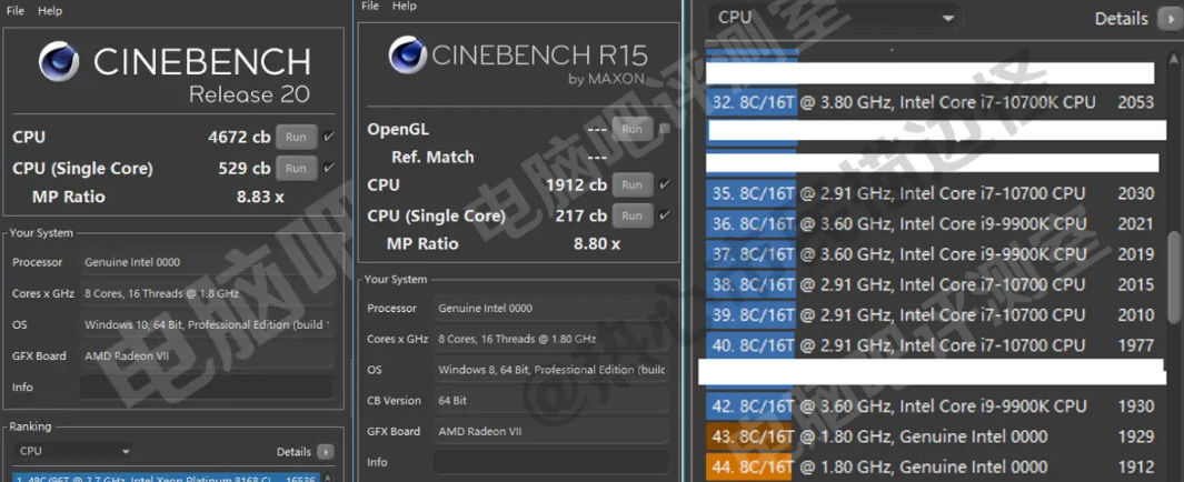 intel core i9 11900 cinebench หลุดผลทดสอบซีพียู Intel Core i9 11900 ในรหัส Rocket Lake S รุ่นใหม่ล่าสุดทดสอบบนเมนบอร์ด B560 รุ่นใหม่ล่าสุด