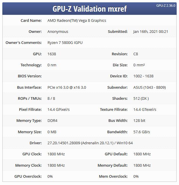 2021 01 20 12 43 11 หลุดซีพียู AMD Ryzen 7 5800G รุ่นใหม่ล่าสุดในรหัส Cezanne สถาปัตย์ ZEN3 ใช้การ์ดจอ AMD Radeon Vega 8 กับคอร์ 8 Compute Units คาดเปิดตัวเร็วๆนี้