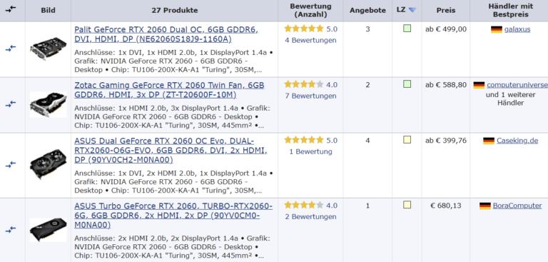 geizhals rtx 2060 768x367 ลือ!! Nvidia อาจนำการ์ดจอ NVIDIA GeForce RTX 2060 รุ่นธรรมดาและรุ่น Super ออกมาเปิดตัวและวางขายใหม่