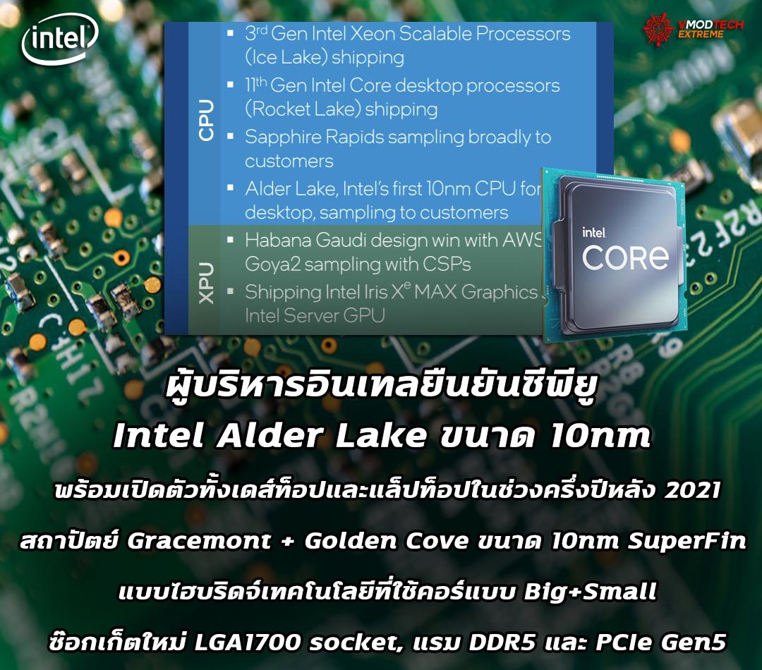 intel alder lake 10nm 2h 20211 ผู้บริหารอินเทลยืนยันซีพียู Intel Alder Lake ขนาด 10nm จะมีความพร้อมในการผลิตทั้งรุ่นเดสก์ท็อปและแล็ปท็อปช่วงครึ่งปีหลัง 2021